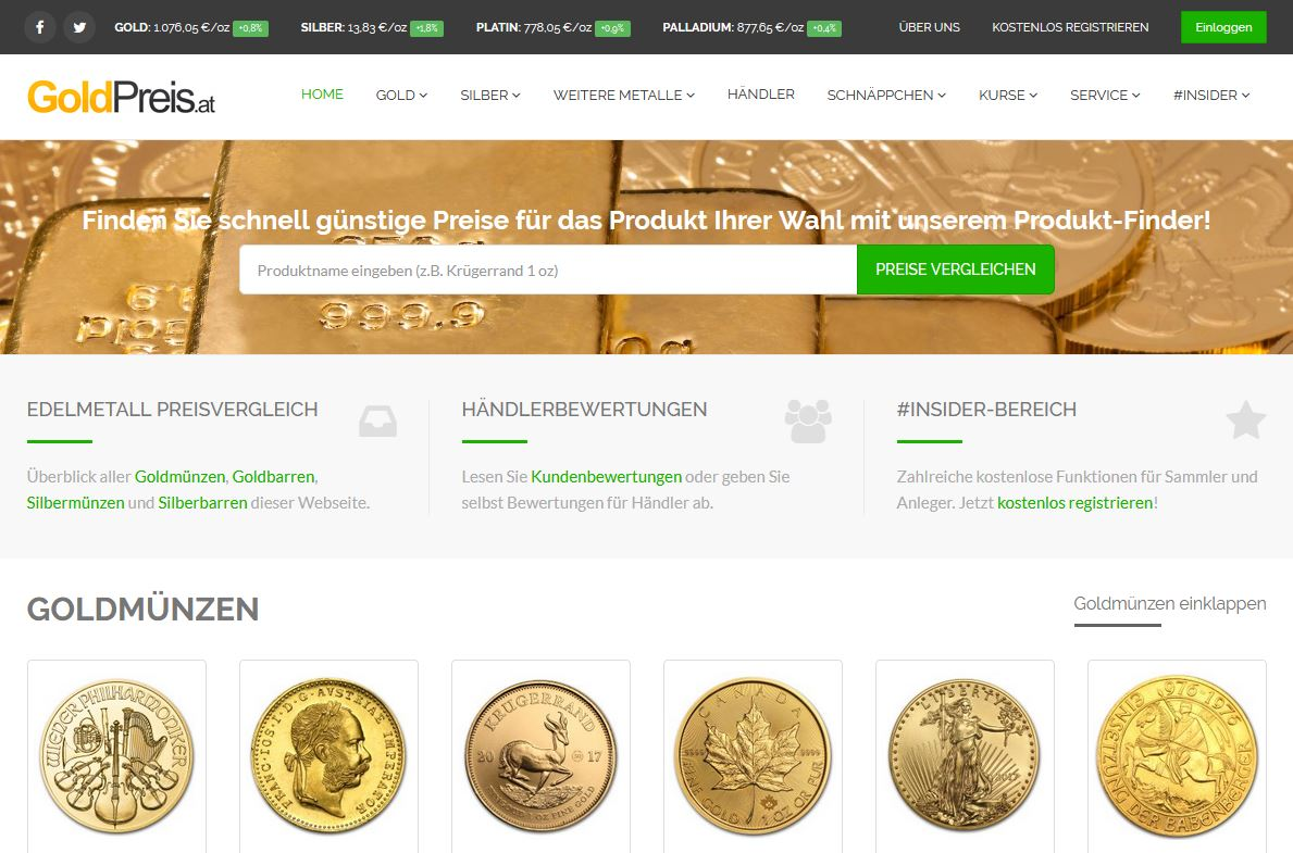 Goldpreis.at Screenshot