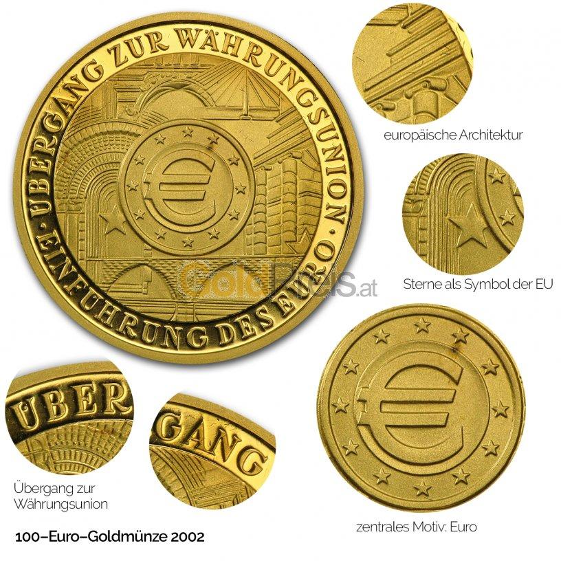 100 Euro Gold-Gedenkmünze der BRD - Details des Revers