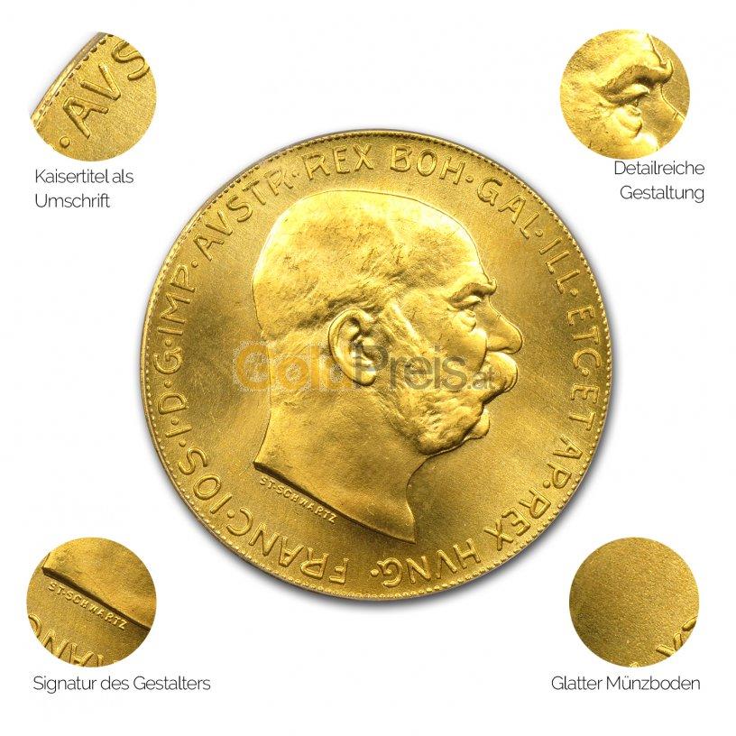 Goldmünze Goldkrone Österreich - Details des Revers