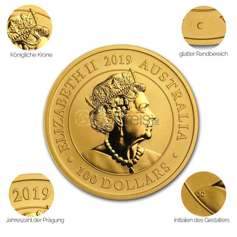 Avers der Goldmünze Schwan 2019