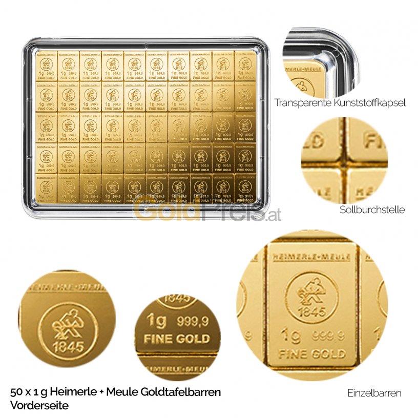 Goldtafelbarren 50 x 1 Gramm Heimerle & Meule - Vorderseite