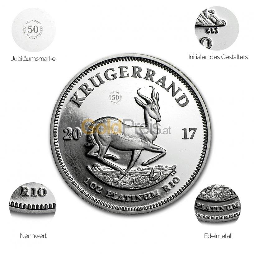 Platinmünze Krügerrand - Details des Revers