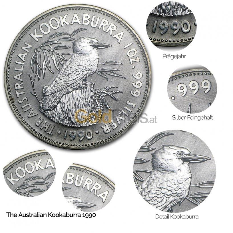Details der Silbermünze Kookaburra 1990