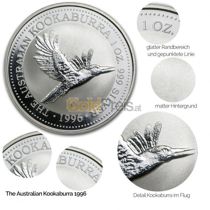 Details der Silbermünze Kookaburra 1996