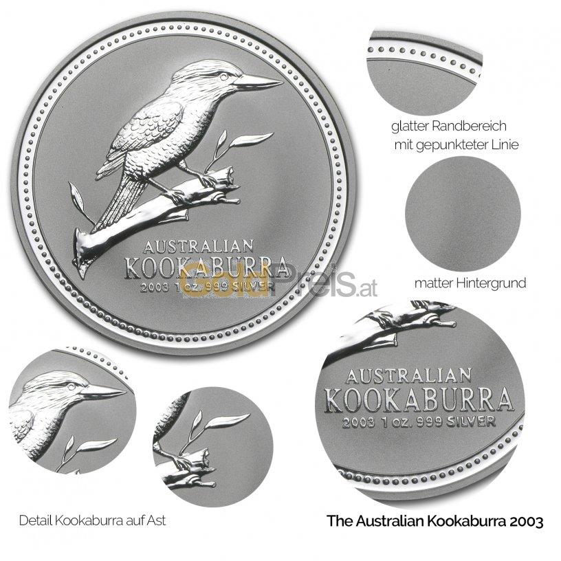 Details der Silbermünze Kookaburra 2003