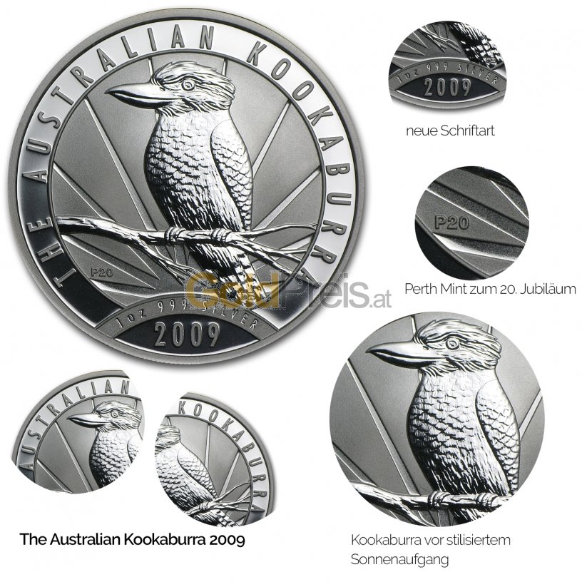Details der Silbermünze Kookaburra 2009