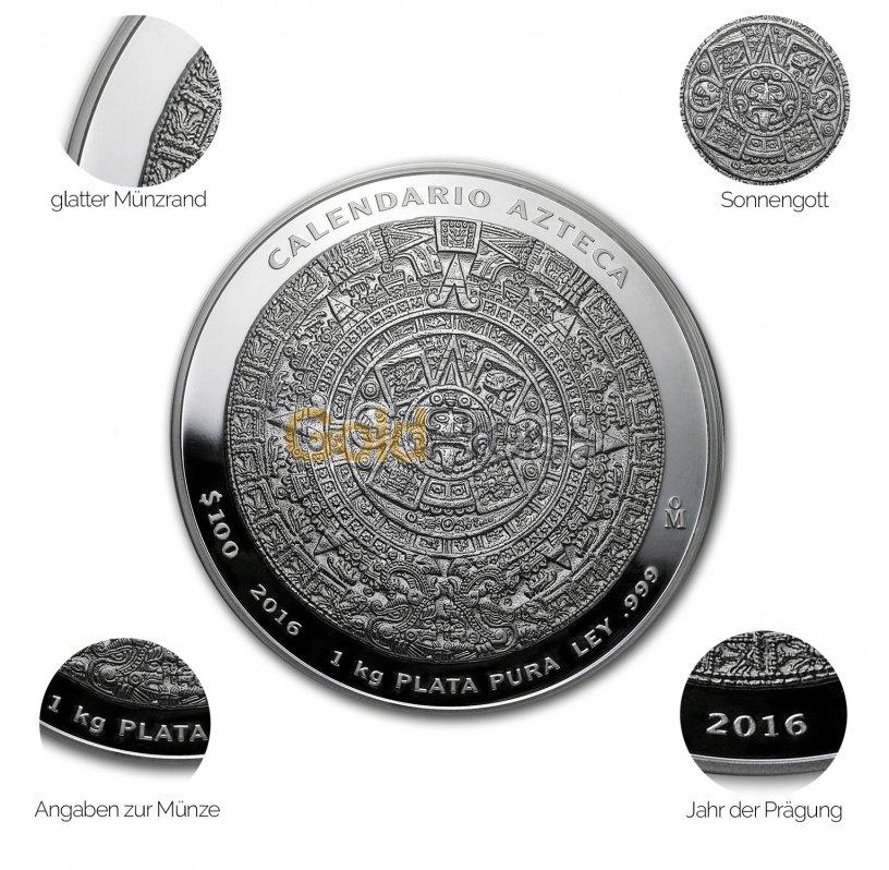 Silbermünze Aztekenkalender - Details des Revers