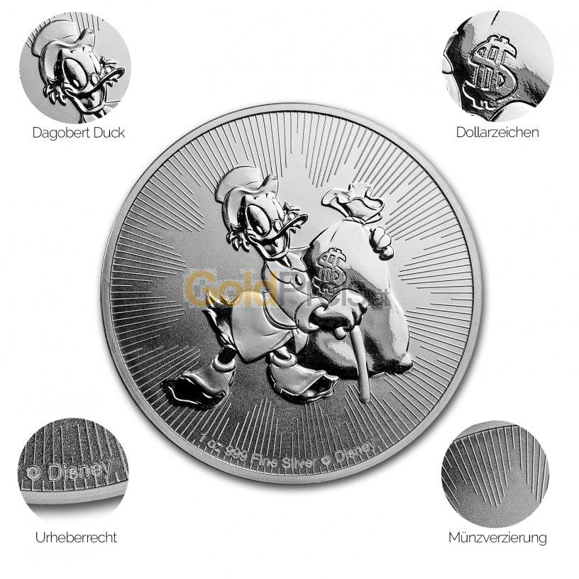 Silbermünze Dagobert Duck - Details des Revers