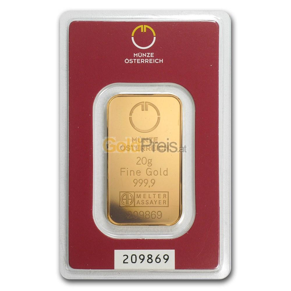 Goldbarren Preisvergleich 20 Gramm Gold Kaufen
