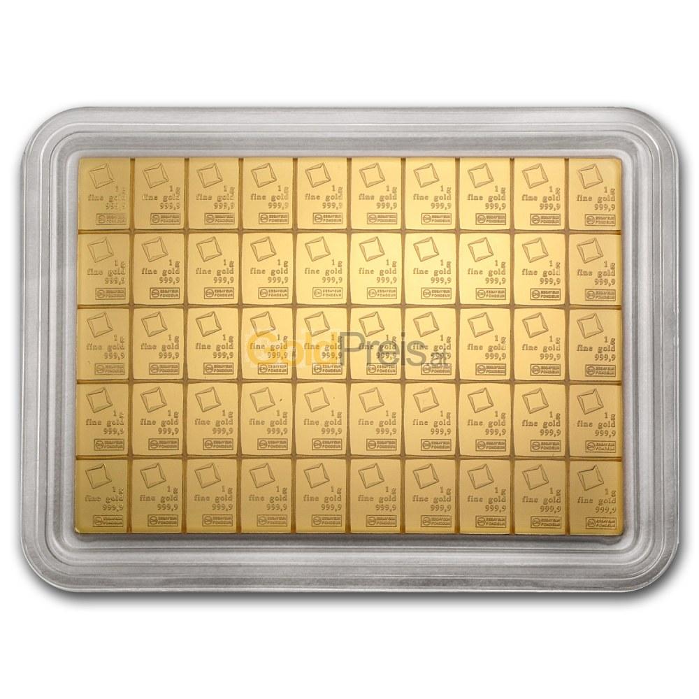 Gold Tafelbarren Preisvergleich Goldtafel 50 X 1g Kaufen
