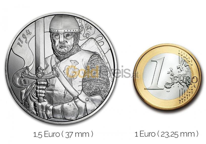 Größenvergleich 825 Jahre Münze Wien Silbermünze mit 1 Euro-Stück