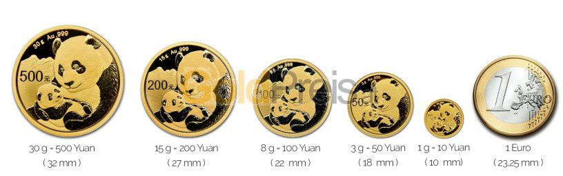 Größenvergleich China Panda Goldmünze mit 1 Euro-Stück
