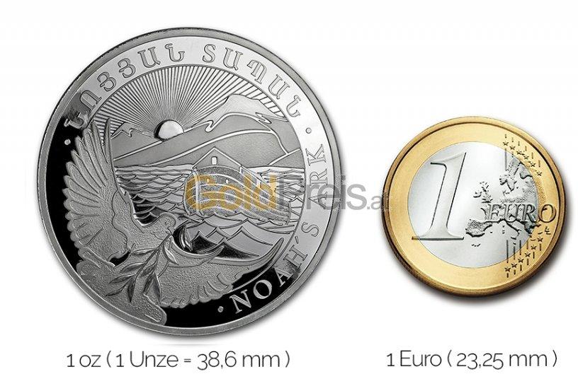 Größenvergleich Arche Noah Silbermünze mit 1 Euro-Stück