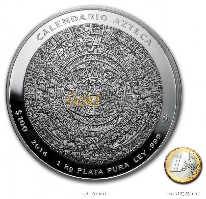 Größenvergleich Aztekenkalender Silbermünze mit 1 Euro-Stück