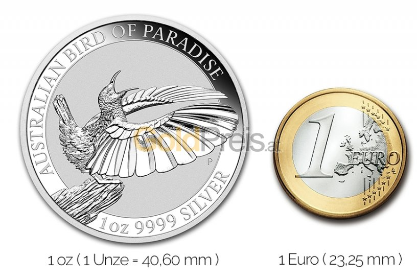 Größenvergleich Bird of Paradise Silbermünze mit 1 Euro-Stück