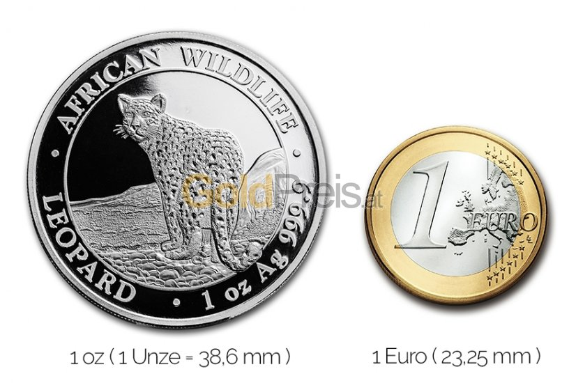 Größenvergleich Somalia Leopard Silbermünze mit 1 Euro-Stück