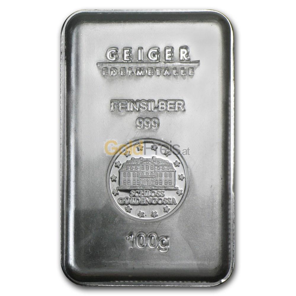 Silberbarren Preisvergleich 100 Gramm Silber Kaufen
